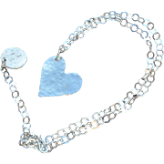 Fine Silver Heart on Sterling Silver Chain