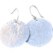 Fine Silver Hammered Mod Disk Earrings