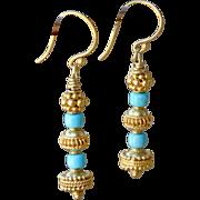 Sleeping Beauty Turquoise & Gold Vermeil Earrings