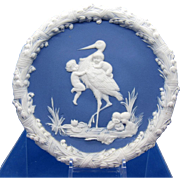 Vintage Blue and White Jasperware Plaque, Stork, And Babies in the Reeds