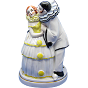 Vintage Germany Porcelain Pierrot Clown and Lady Perfume Night Light