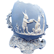 Vintage LARGE Blue Jasperware Rabbits, Bunnies On a Large Egg