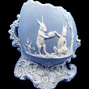 Vintage LARGE Blue Jasperware Rabbits, Bunnies On a Large Egg