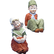 Antique HEUBACH Bisque Dutch Couple Kids Dutch Girl & Boy, Pair for One Price
