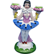 Vintage Porcelain Pierrot Girl Double Candlestick, Karl Scheider, Germany