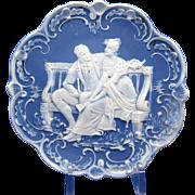 Antique Blue & White Romantic Scene Jasperware Plaque, Couple Seated on Bench
