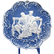 Antique Blue & White Romantic Scene Jasperware Plaque, Couple Seated on Bench