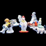 Antique Children's Set of Circus Candlesticks Clown, Lion, Horse, Camel, Pig