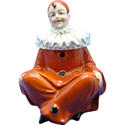 Vintage German Pierrot Clown, Porcelain Inkwell C-1910