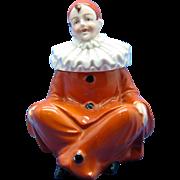 Vintage German Pierrot Clown, Porcelain Inkwell C-1910