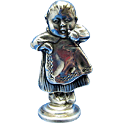 Antique Unger Brothers Sterling Desk Seal, Baby with Apron, 1904