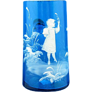 Vintage Mary Gregory Glass Stein with Child, Bright Blue