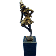 Vintage Bronze Girl Pierrot Clown on Small Plinth