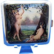 Antique Sterling and Enamel NUDES By a Lake CARD CASE