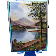 Antique Sterling and Enamel Amazing Lake Scene, Card or Cigarette Case C-1915