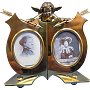 Antique Brass Double Photo Picture Frame with Cherub C-1900