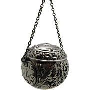 Antique Mauser Sterling AWESOME Tea Ball Strainer, Teaball, Double Hung Chain