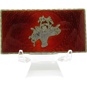 Antique RARE Sterling and Red Enamel Compact with Basket Decoration, Stunning!
