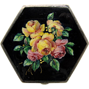 Antique AMAZING Black Enamel with ROSES Compact, Sterling, Austrian
