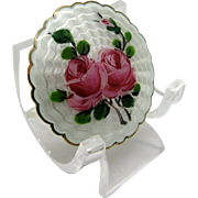 Antique Sterling and Enamel Brooch Pin, LARGE Roses, Guilloche Norway