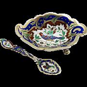 Antique Peter Hertz Copenhagen Sterling & Enamel Open Salt Bird Pattern and ORIGINAL Matching Spoon!