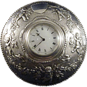 Antique Sterling Clock With Cherubs, Butterfly, Birds, Garland, London, 1888