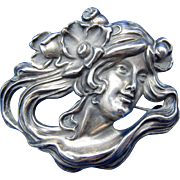 Antique Kerr Sterling ART Nouveau Woman Flowing Hair, Bar Pin Brooch