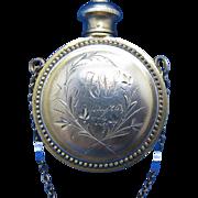 Antique STERLING Vinaigrette, 1873, Vermeil, Gold Wash, Perfume Bottle