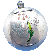 Antique Russian Sterling &Enamel Perfume Scent Bottle and Compact Combined