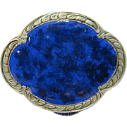 Antique Sterling and Enamel Cobalt Blue Patch of Pill Box, 800 Silver