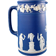 Antique Wedgwood Cobalt Blue Jasper Pitcher, 19th Century