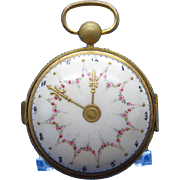 Antique BEAUTIFUL Porcelain Box, Shaped Like a Pocket WATCH, Hand Painted