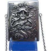 Antique Sterling Art Nouveau Woman Card Case By KERR