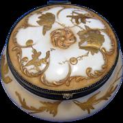 Antique Wavecrest, Mt Washington Style Box with Raised Gold Decoration, Original