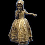 Antique Bronze Dutch Child HOLDING onto a Large Glass Vase Bowl