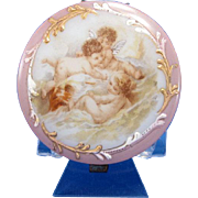 Antique Dresser Patch Box with Cherubs or Angels, Pink with Gold Accents