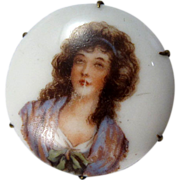 Antique Porcelain Top with Lady Hatpin Hat Pin