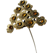 Antique Triangle Shape Set of Flowers with Amber Rhinestones Hatpin Hat Pin