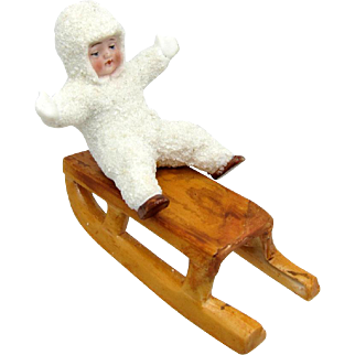 Antique Snowbaby, Snobaby, Snow Baby on a Sled, German