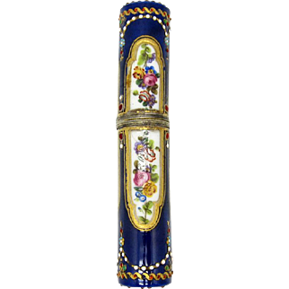 Antique French Silver Porcelain, Enamel, Beaded Sewing Needle Case, C-1850