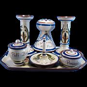 Antique Torquay Mottoware Pottery, English, Hatpin Holder, Entire Dresser Set Watcombe