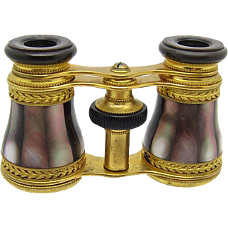 Antique BEAUTIFUL and UNUSUAL Mother of Pearl and Bronze Opera Glasses, French