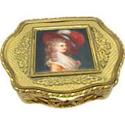 Antique French Box Bronze, with Hand Painted Miniature Portrait Prinx Devonshire