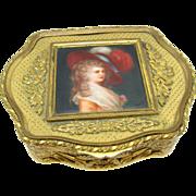 Antique French Box Bronze, with Hand Painted Miniature Portrait Prinx Devonshire