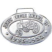 Vintage Sterling Silver John Deere Model 1935-1952 Luggage Tag, Medallion
