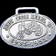 Vintage Sterling Silver John Deere Model 1935-1952 Luggage Tag, Medallion