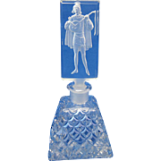 Antique Czech Glass Intaglio Lute Player Perfume Bottle