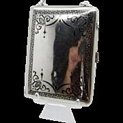 Antique Sterling  and Enamel Vanity Case, Token Holder, Compact