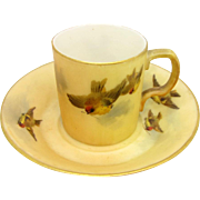 Antique Miniature Royal Worcester Cup & Saucer w/ Swallow Birds Hand Painted