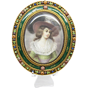 Antique Amazing Miniature Painting in Enamel and Jeweled Frame Austrian, WOW